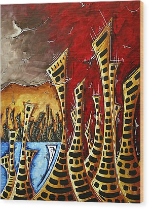 Abstract Art Contemporary Coastal Cityscape 3 Of 3 Capturing The Heart Of The City II By Madart Wood Print by Megan Duncanson