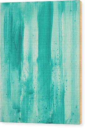Abstract Art Original Decorative Painting Aqua Passion By Madart Wood Print by Megan Duncanson