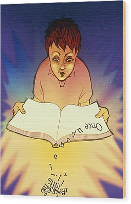 Abstract Artwork Of A Dyslexic Boy Reading A Book Wood Print by David Gifford