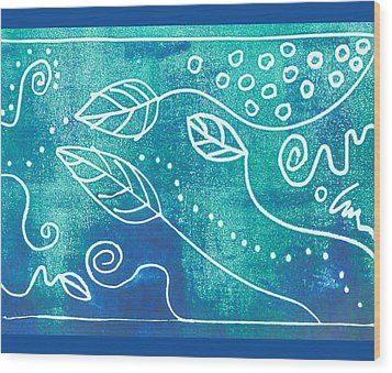 Abstract Block Print In Blue Wood Print by Ann Powell