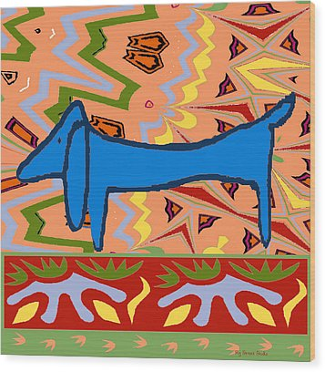 Abstract Blue Dachshund Wood Print by Jerry Schwehm