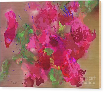 Abstract Bougainvillea Painting Floral Wall Art Wood Print by Judy Filarecki