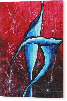 Abstract Calla Lilly Textured Painting Greeting Lillies By Madart Wood Print by Megan Duncanson