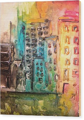 Abstract Cityscape Wood Print