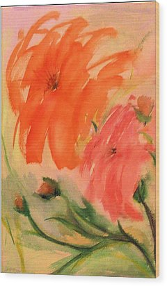 Wood Print featuring the painting Abstract Dahlia's by Alethea McKee