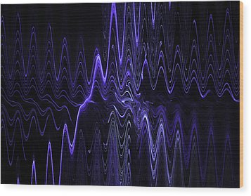 Abstract Digital Blue Waves Fractal Image Black Computer Art Wood Print