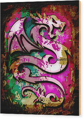 Abstract Dragon Wood Print by David G Paul