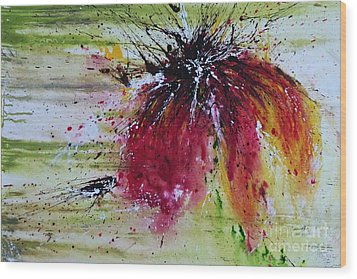 Wood Print featuring the painting Abstract  Flower by Ismeta Gruenwald