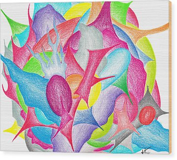 Abstract Flower Wood Print by Jera Sky