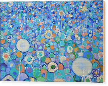 Abstract Flowers Field Wood Print by Ana Maria Edulescu
