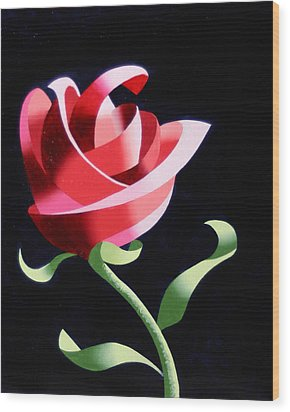 Wood Print featuring the painting Abstract Geometric Cubist Rose Oil Painting 1 by Mark Webster