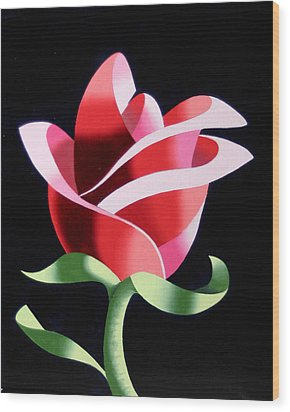 Wood Print featuring the painting Abstract Geometric Cubist Rose Oil Painting 2 by Mark Webster