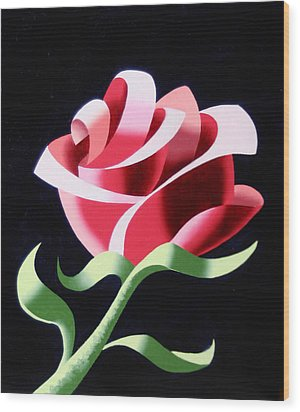 Wood Print featuring the painting Abstract Geometric Cubist Rose Oil Painting 3 by Mark Webster