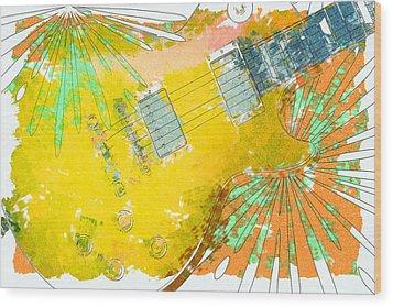 Abstract Guitar Wood Print by David G Paul
