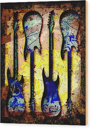 Abstract Guitars Wood Print by David G Paul