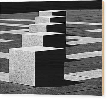 Abstract In Black And White Wood Print by Tam Graff
