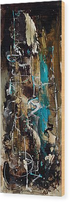 Abstract In Blue And Brown Wood Print