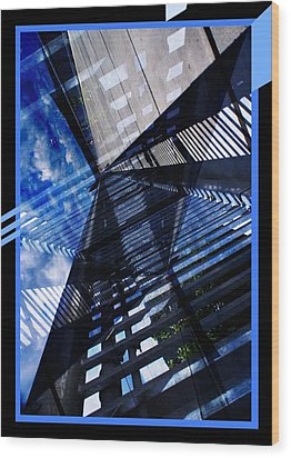 Abstract In Blue And Cement Wood Print by Matthew Green