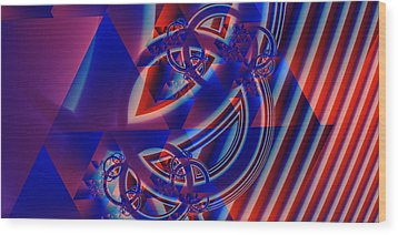 Wood Print featuring the digital art Abstract In Red And Blue by Mario Carini