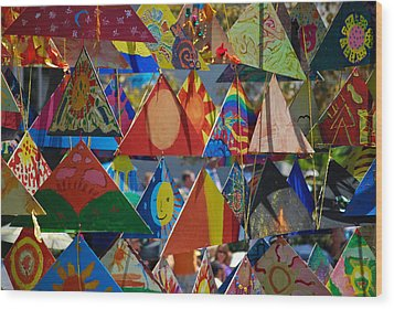 Abstract In Triangles Wood Print by Peggy Zachariou