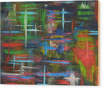 Wood Print featuring the painting Abstract Lines by Everette McMahan jr