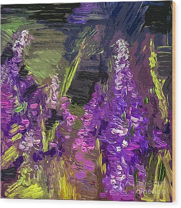 Abstract Lupines Decorative Art By Ginette Wood Print by Ginette Callaway