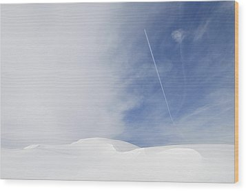 Abstract Minimalist Winter Landscape - Snow And Blue Sky Wood Print by Matthias Hauser