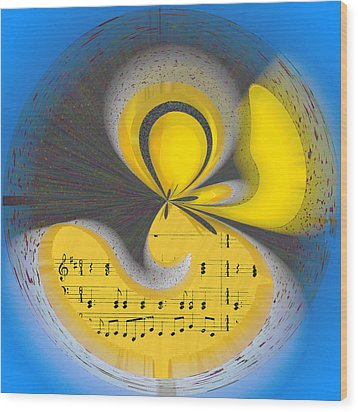 Abstract Music Wood Print