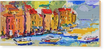 Abstract Portofino Italy And Boats Wood Print by Ginette Callaway