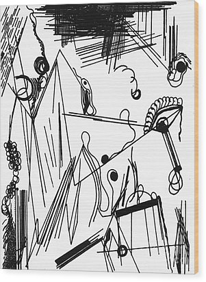 Wood Print featuring the drawing Abstract Postcard 1 by Christine Perry