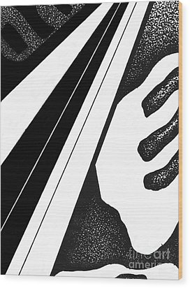 Wood Print featuring the drawing Abstract Postcard 4 by Christine Perry