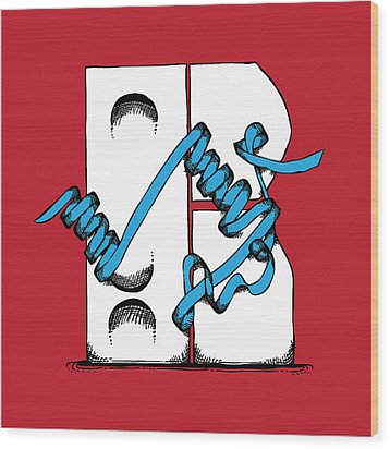 Abstract 'r' Wood Print by Michaela Mitchell