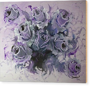 Abstract Roses Bouquet Wood Print