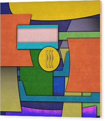 Abstract Shapes Color One Wood Print by Gary Grayson