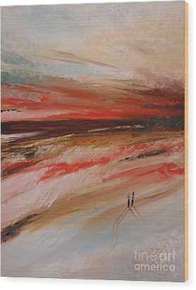 Abstract Sunset II Wood Print by Tatjana Popovska