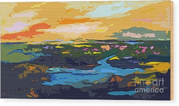 Abstract Sunset Landscape Waterways Wood Print by Ginette Callaway
