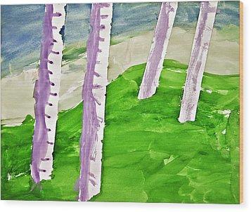 Abstract Trees Wood Print by Susan Leggett