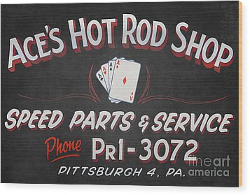 Ace's Hot Rod Shop Wood Print by Clarence Holmes