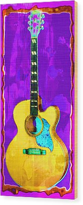 Acoustic Guitar Abstract Wood Print by David G Paul