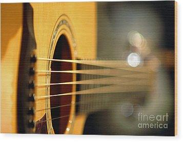 Acoustic Guitar Wood Print by Gib Martinez