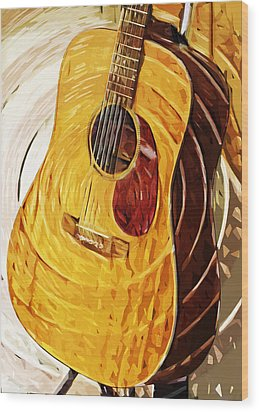 Acoustic On Stand Wood Print by Tilly Williams