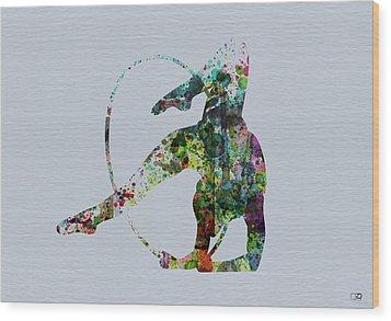Acrobatic Dancer Wood Print by Naxart Studio