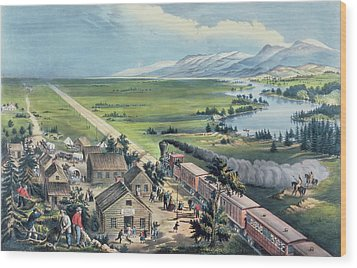 Across The Continent Wood Print by Currier and Ives