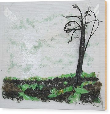 Across The Field Wood Print by Mariann Taubensee