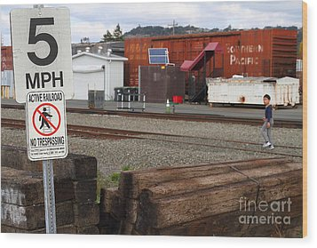 Active Railroad . No Tresspassing Wood Print by Wingsdomain Art and Photography