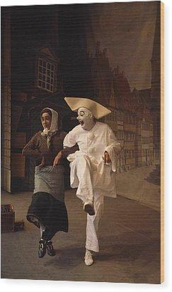 Actors Perform Pantomimes At Tivoli Wood Print by Sisse Brimberg