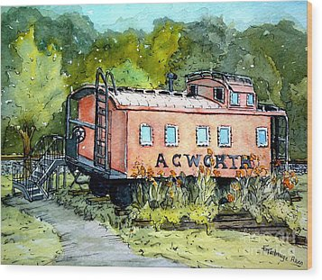 Wood Print featuring the painting Acworth Caboose by Gretchen Allen
