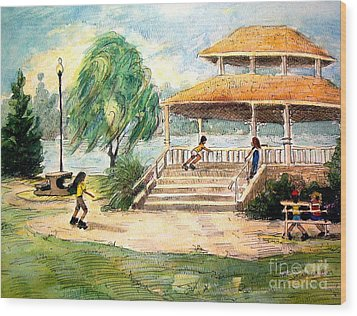 Wood Print featuring the painting Acworth Park by Gretchen Allen