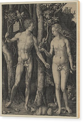 Adam And Eve, 1504 Engraving By German Wood Print by Everett