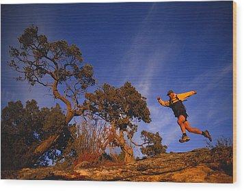 Adam Lederer Trail-runs Near Dolores Wood Print by Bill Hatcher